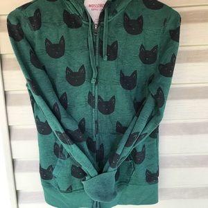 Green cat zip up hoodie